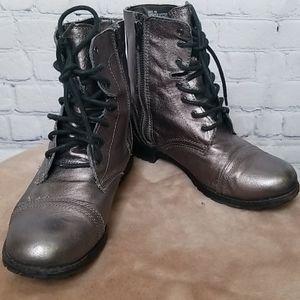 Steve Madden leather metallic combat boots